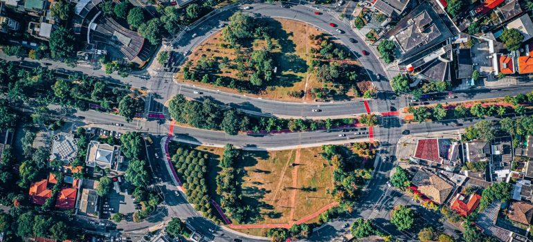 A bird's eye view of a complex road network.