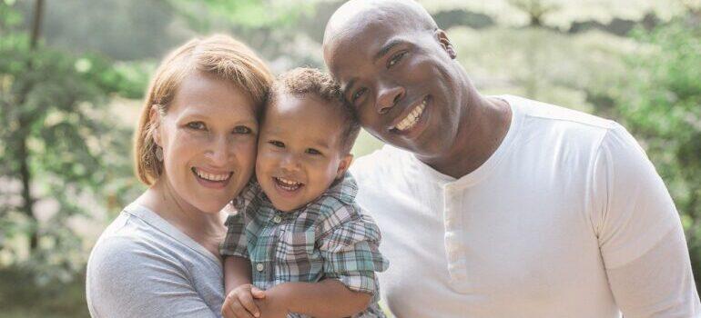 A happy family of three.