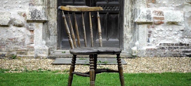 Old chair on grass