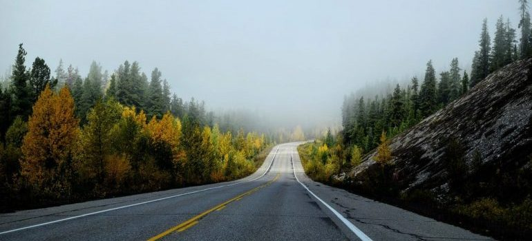 A road dissapearing in fog