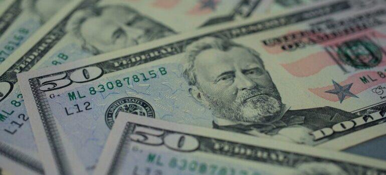 Fifty-dollar bills.