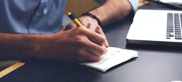 Man making a list.