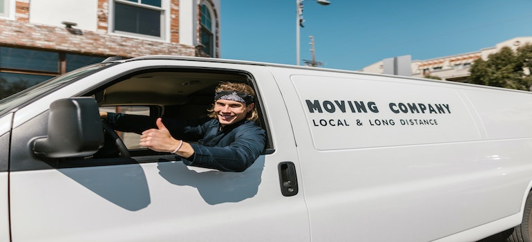 professional mover in a van
