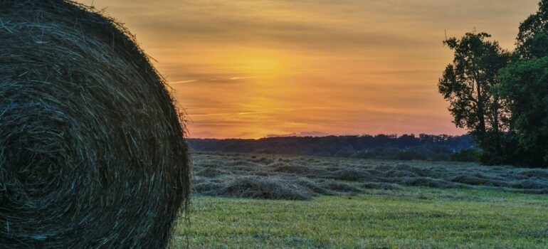 hay bales in the field with the sunset on the horizon in one of many places to buy a vacation home in MD