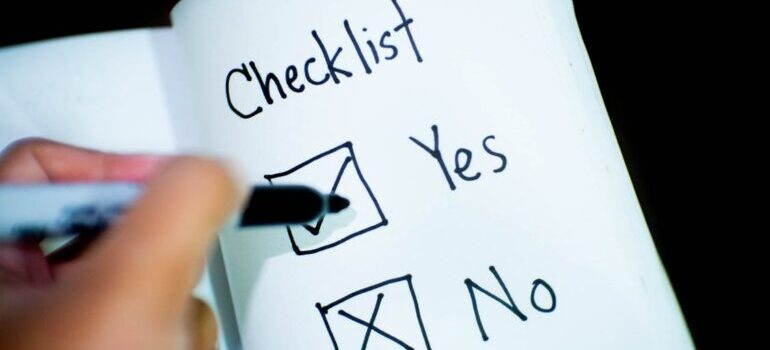 Person marking Yes or No checklist